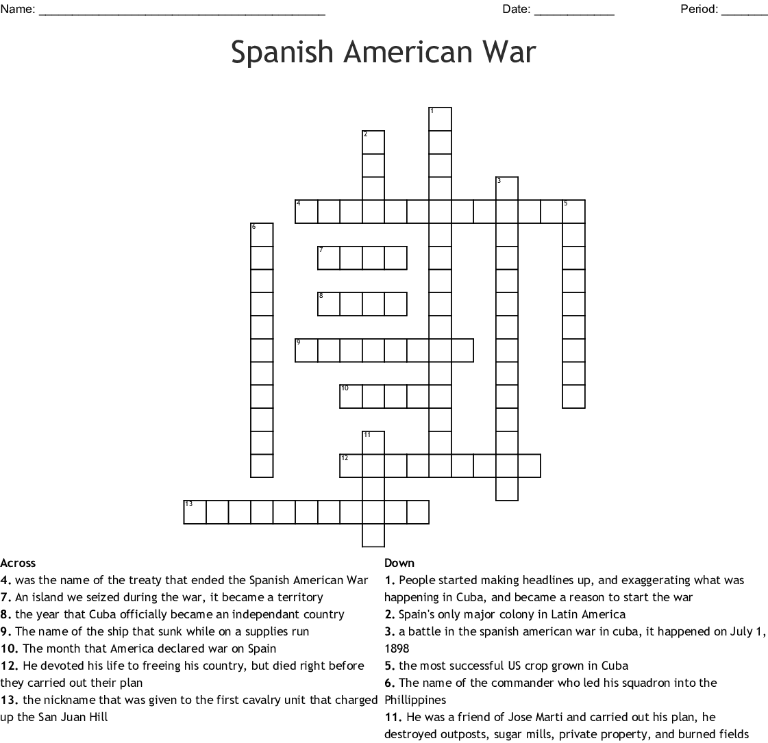 Spanish American War Crossword