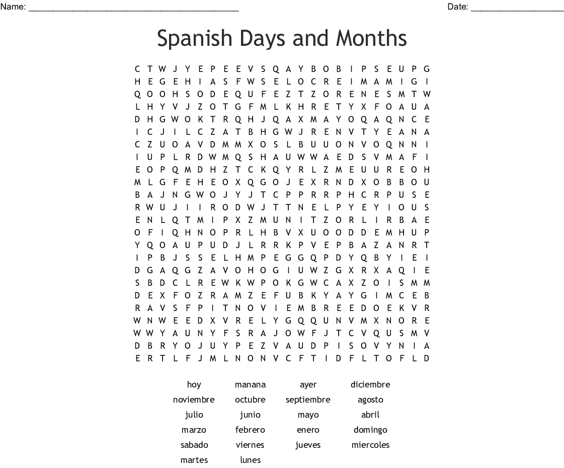 Months Of The Year And Days Of The Week In Spanish