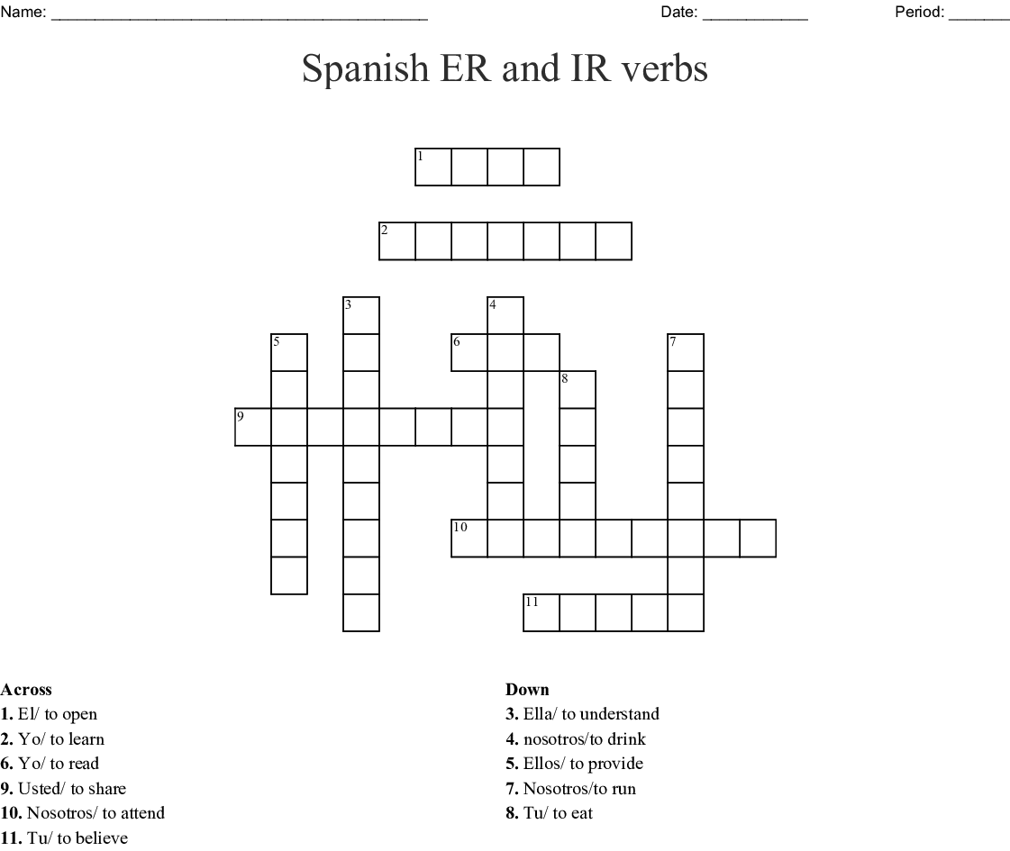 Spanish Er And Ir Verbs Crossword
