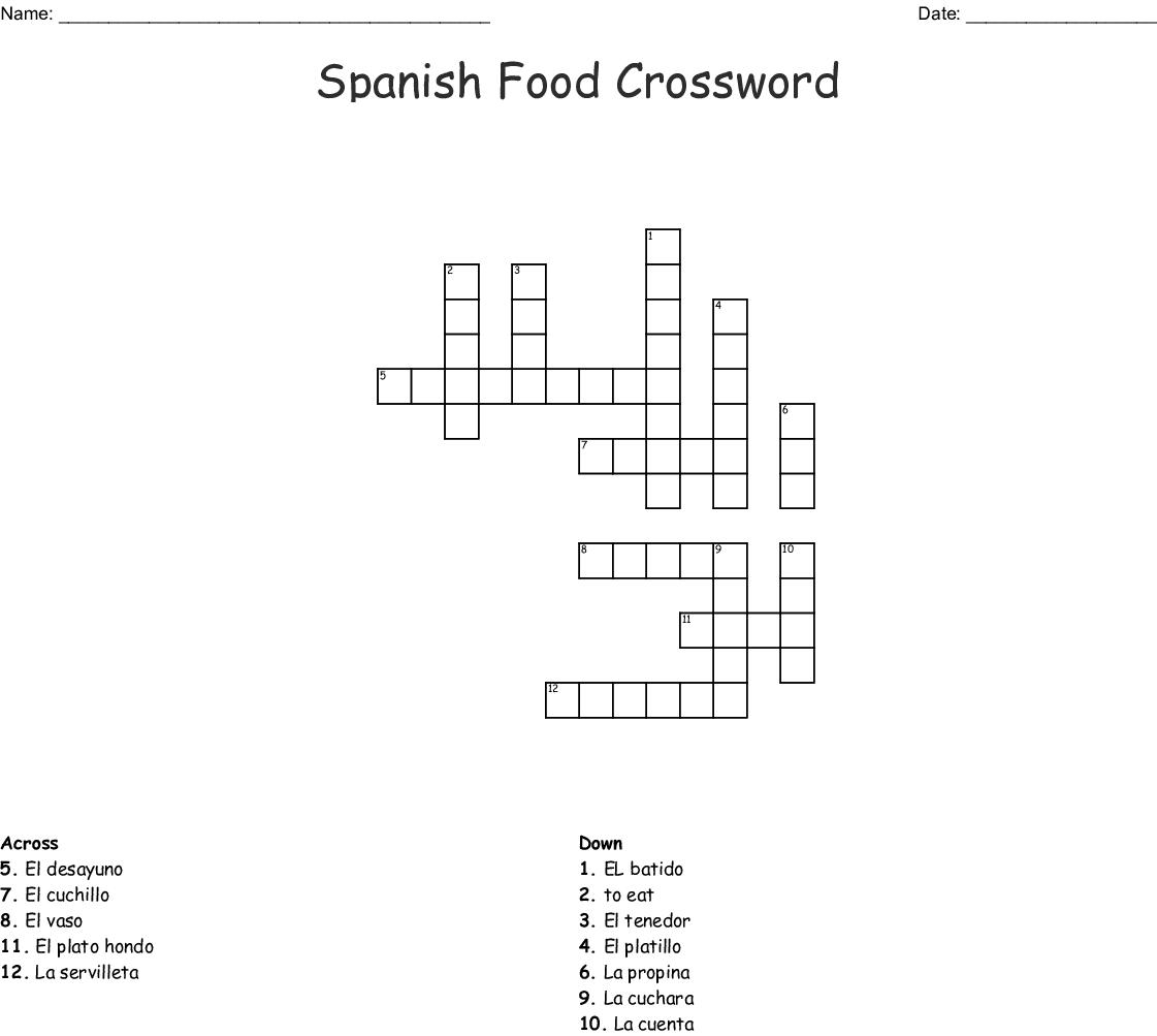 Spanish Vocab Crossword