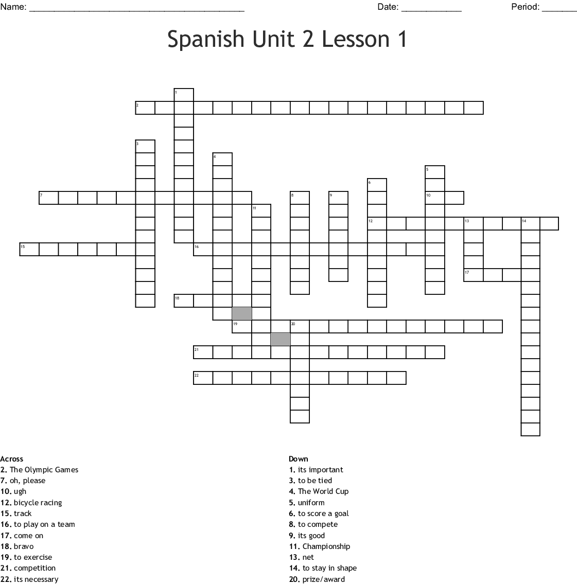Spanish Unit 2 Lesson 1 Crossword
