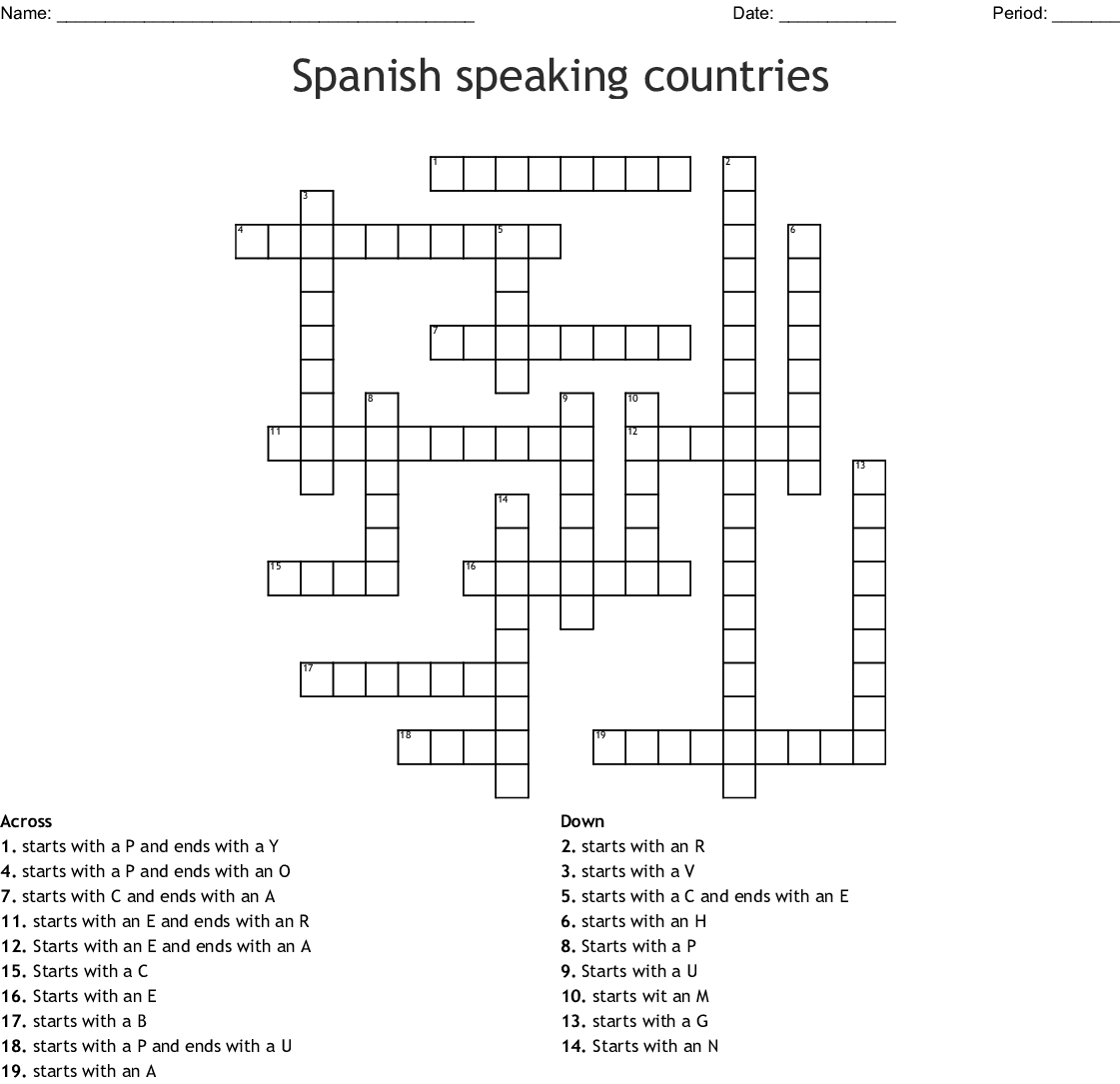 Spanish Speaking Countries Crossword