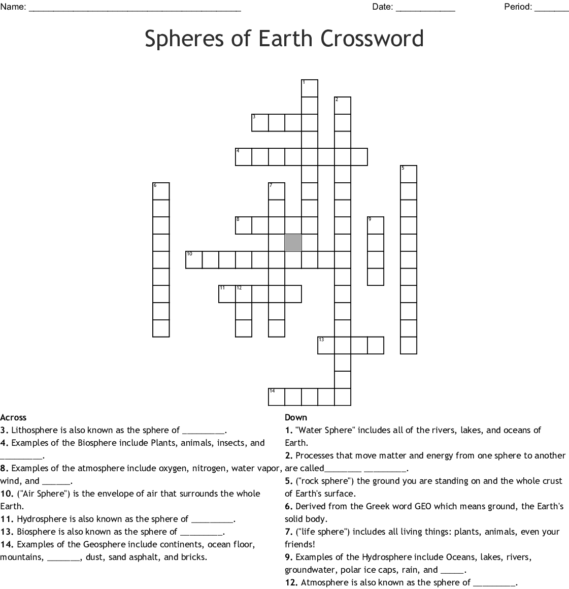 4 Spheres Of The Earth Worksheet