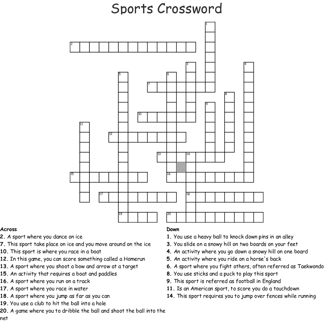Best Sports Crossword Puzzles Printable