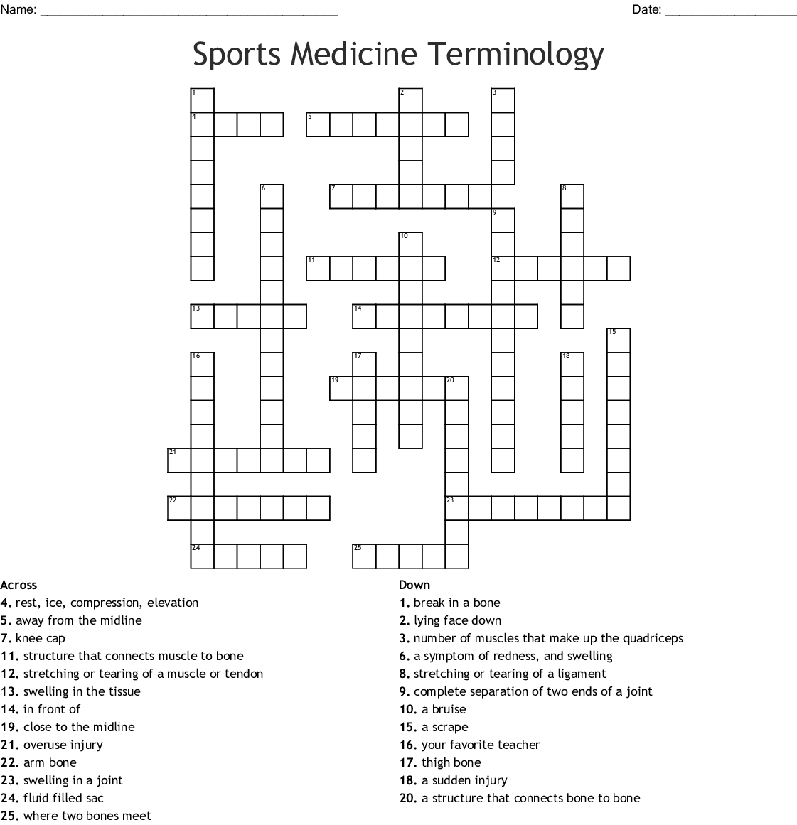Sports Medicine Terminology Crossword
