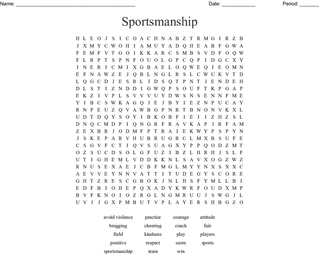 Sportsmanship Word Search