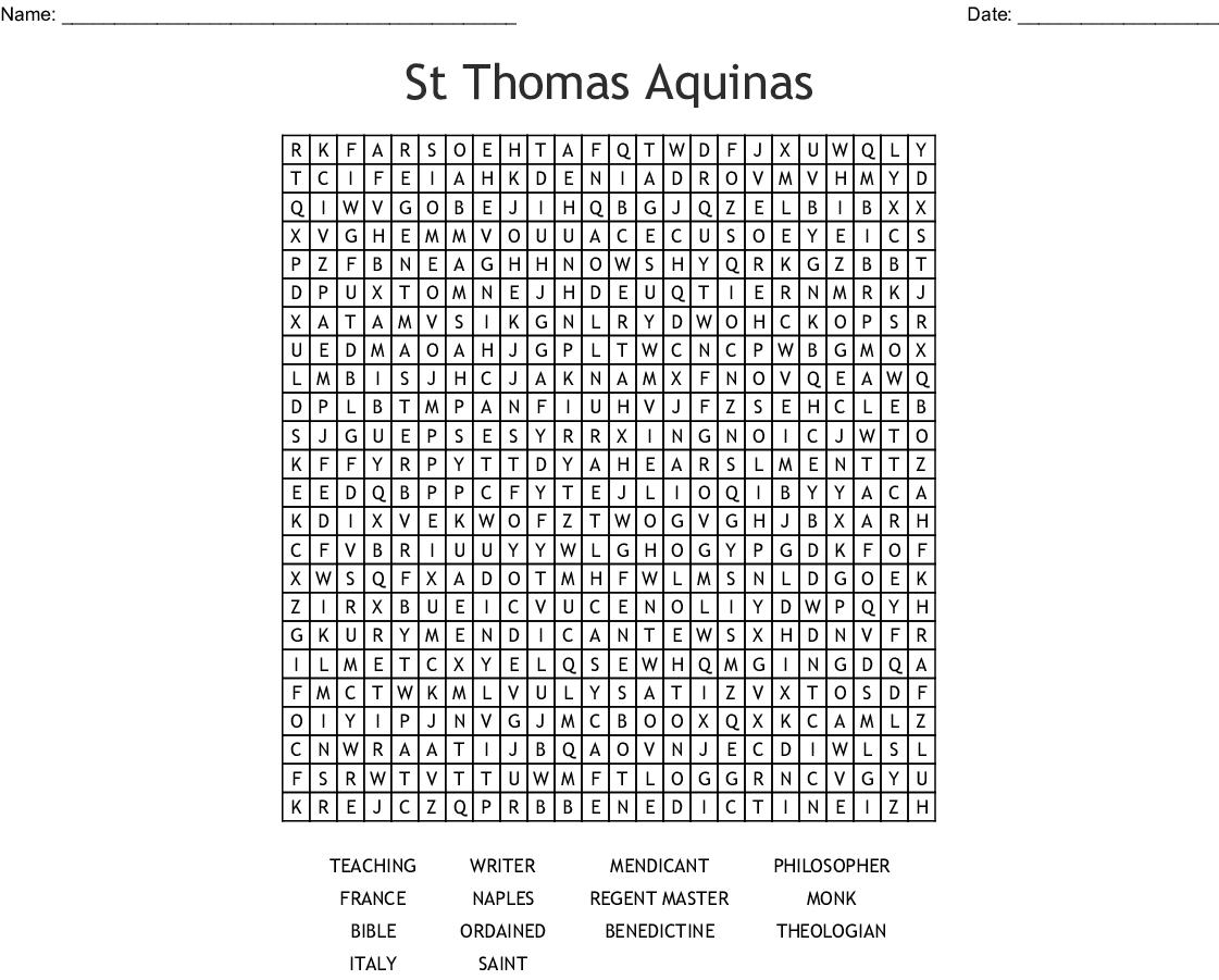 St Thomas Aquinas Word Search