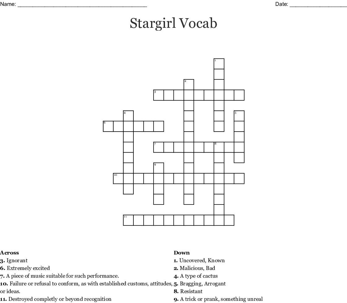 Stargirl Crossword Puzzle