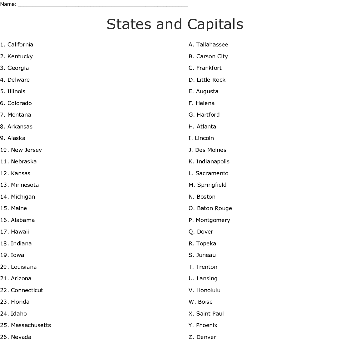 Similar To Capitals Of The United States Word Search