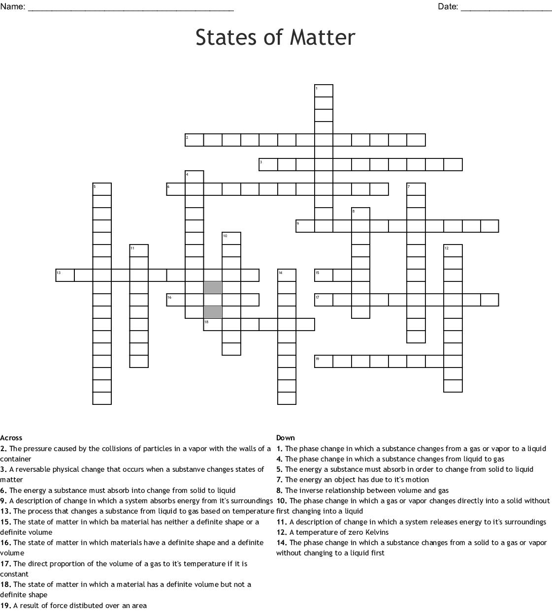 Unit 9 States Of Matter Crossword