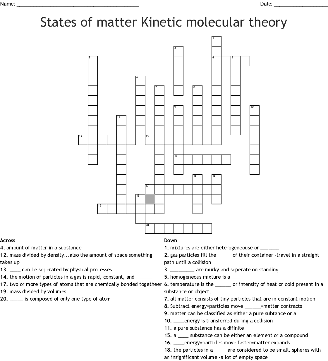 Matter Vocabulary Crossword Puzzle