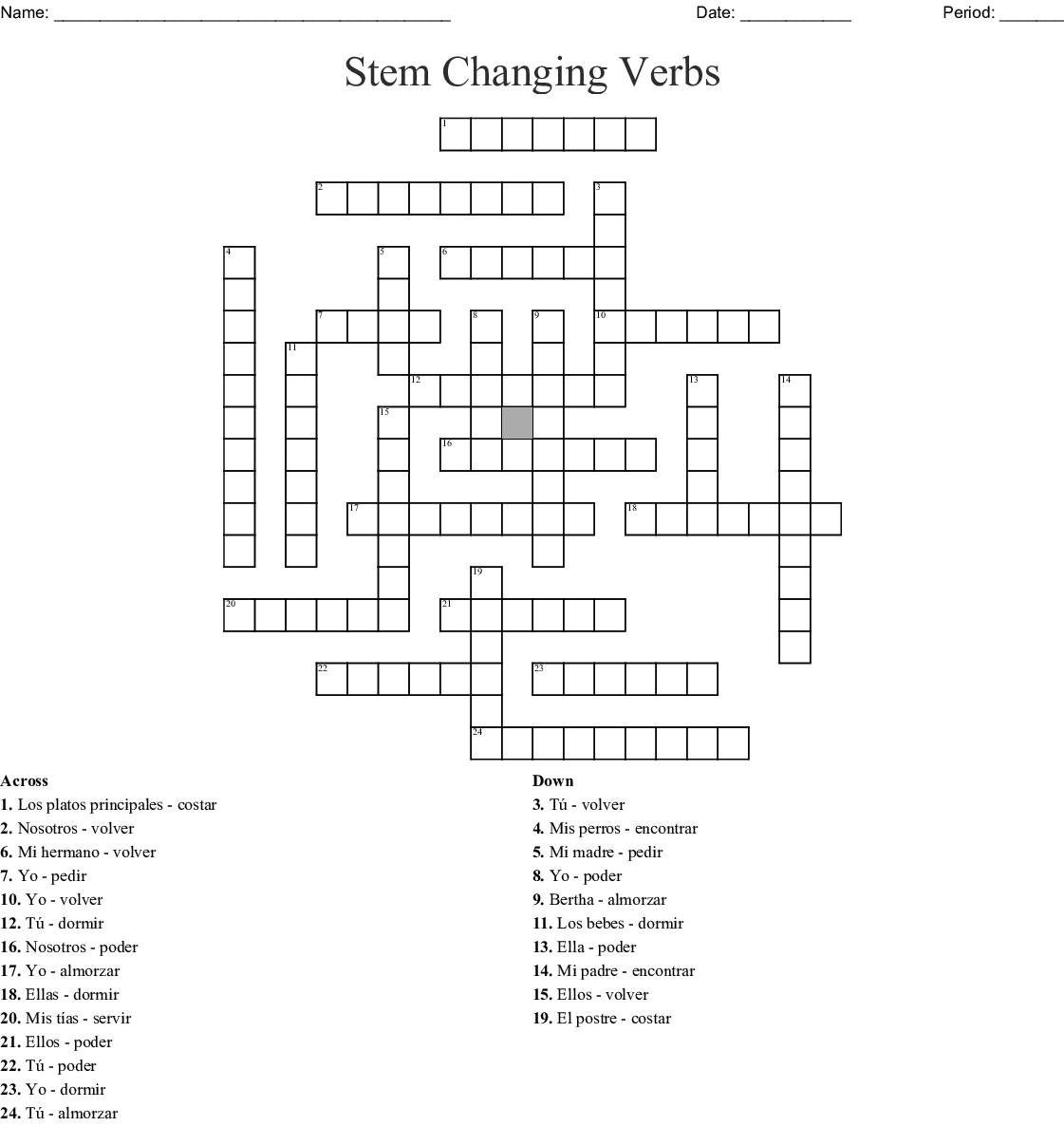 Stem Changing Verbs Word Search