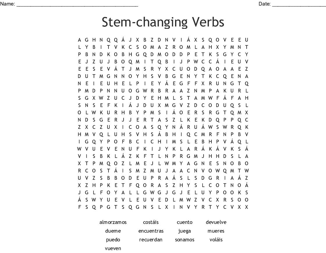 Stem Changing Verbs Worksheets