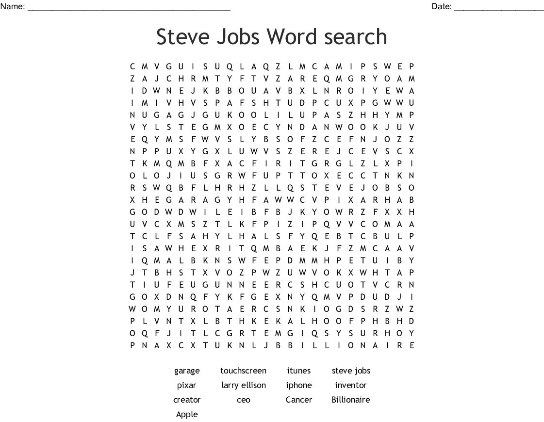 Steve Jobs Word Search