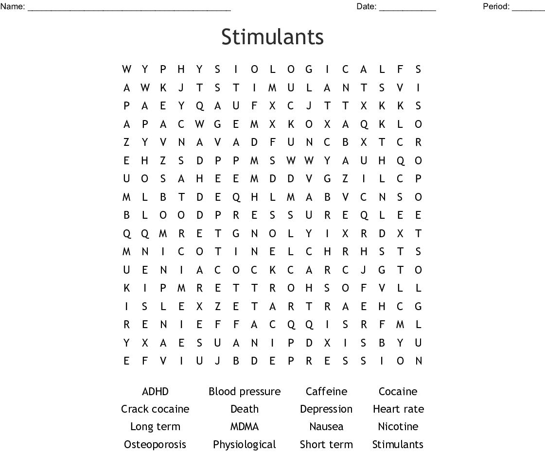 Stimulants Word Search