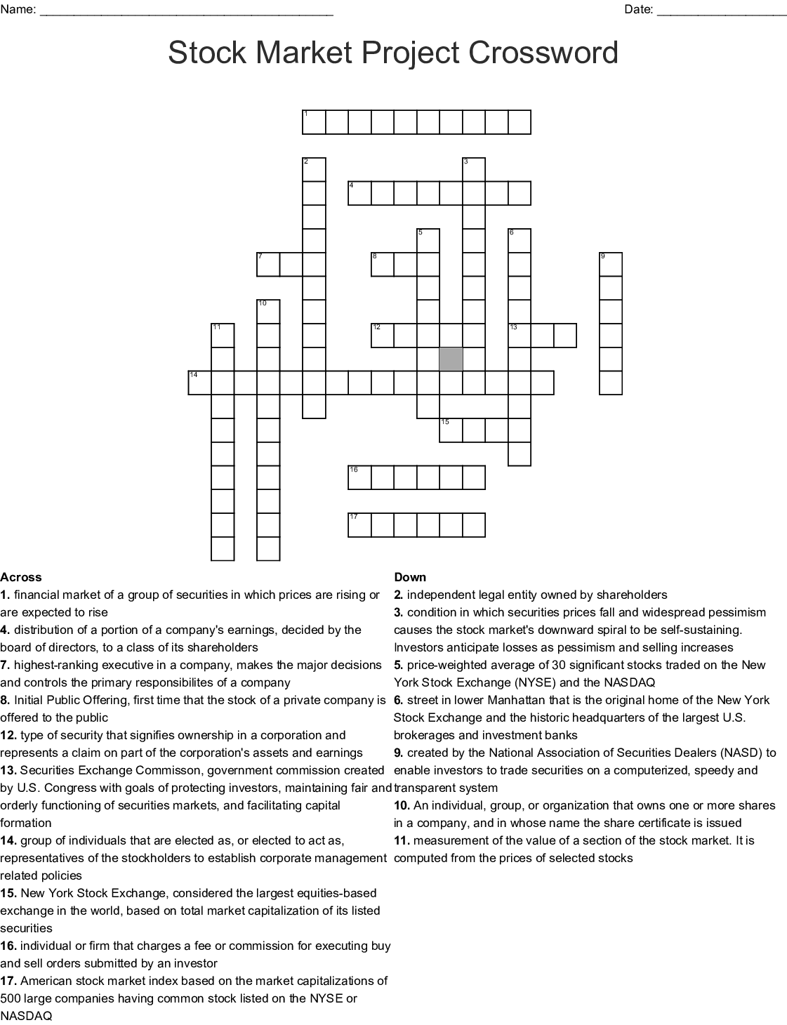 Stock Market Puzzle Crossword