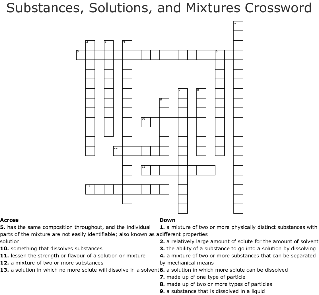 Substances Mixtures And Solubility Worksheet Answers