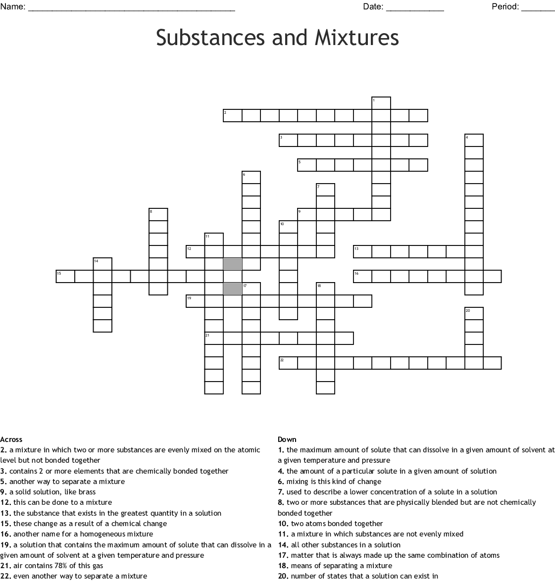 Pure Substance Vs Mixture Worksheet