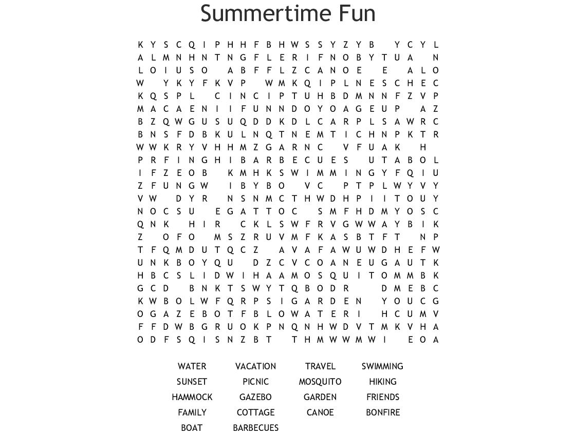 Summertime Fun Word Search