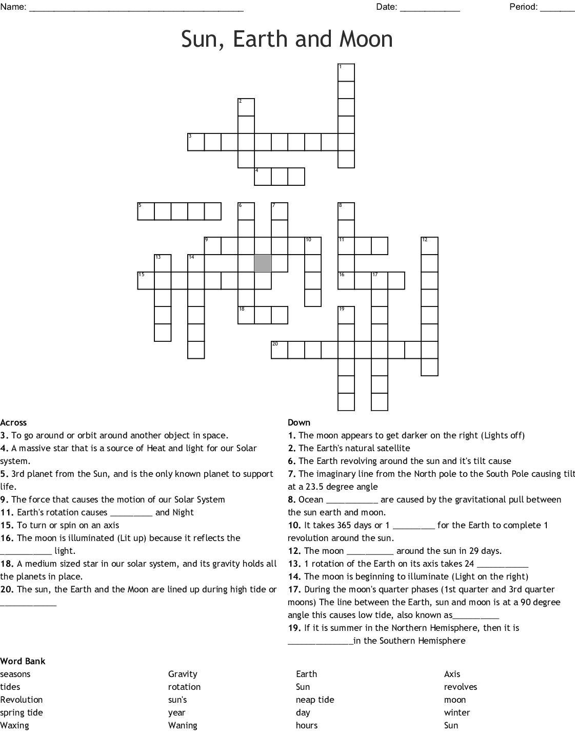 Earth Moon And Sun Crossword