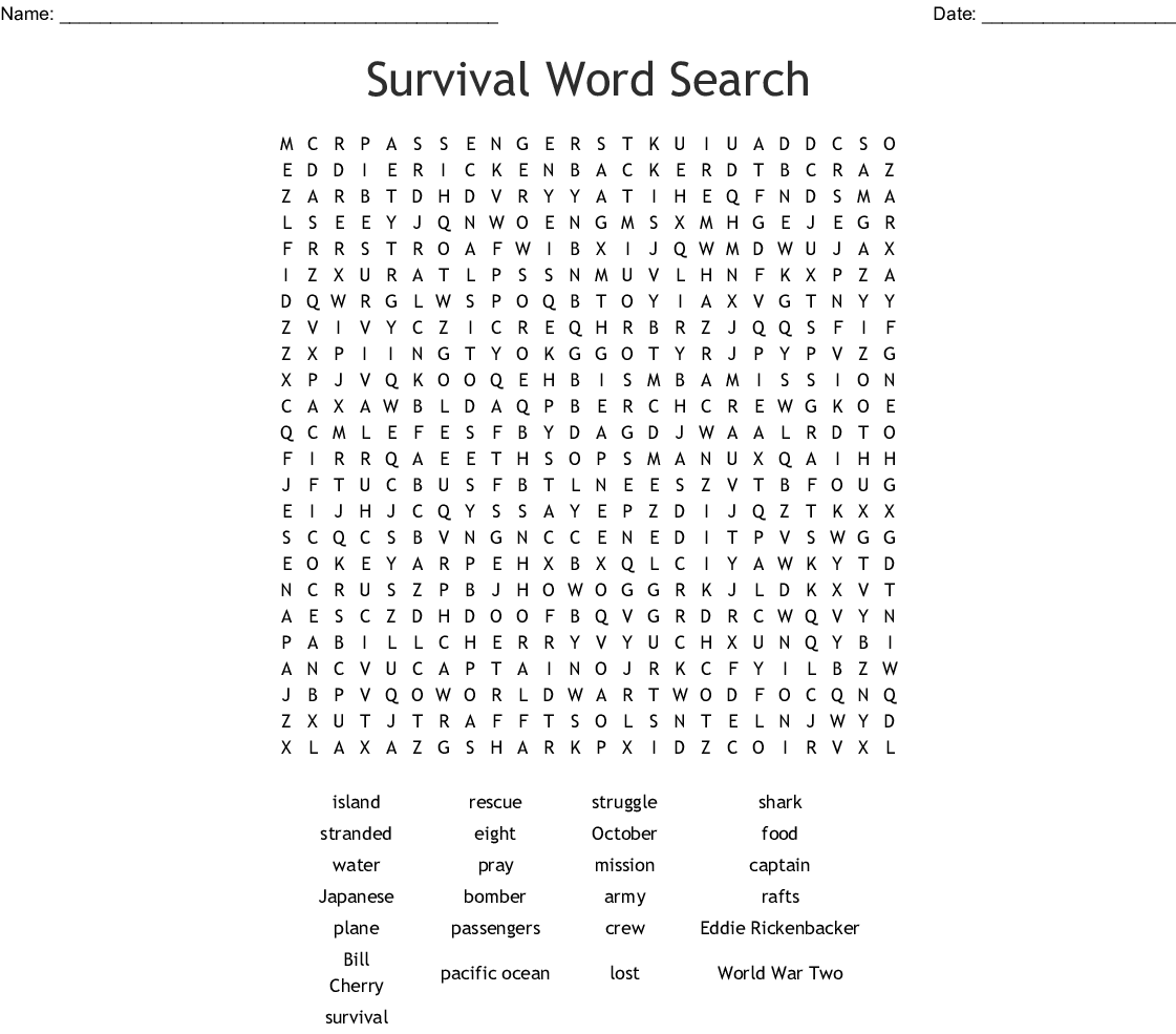 Survival Word Search