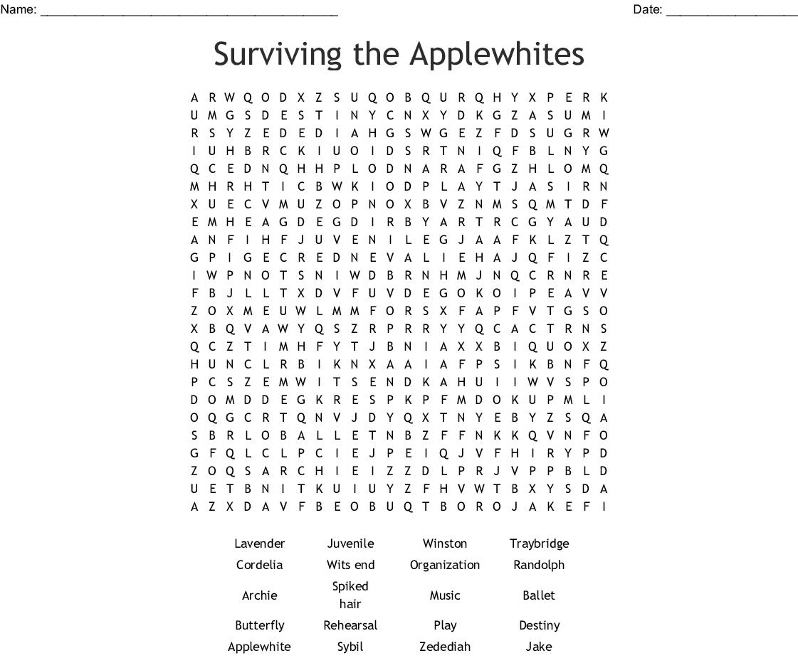 Surviving The Applewhites Word Search