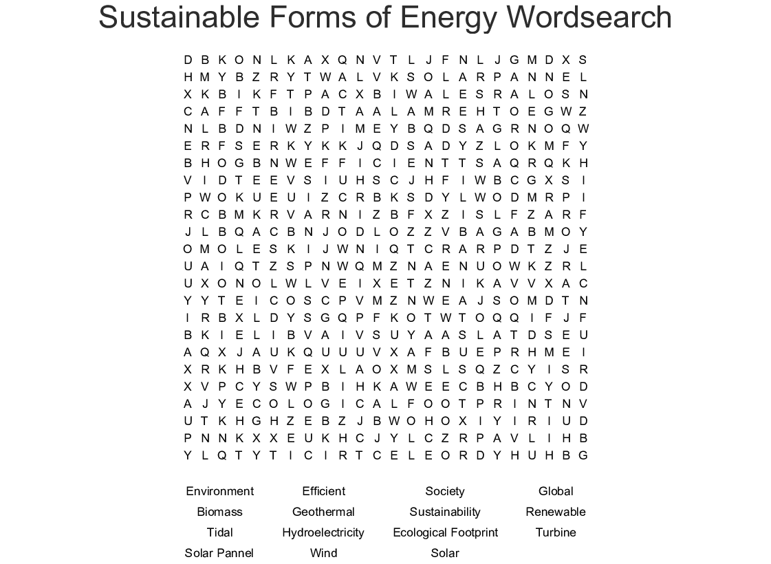 Sustainable Forms Of Energy Wordsearch