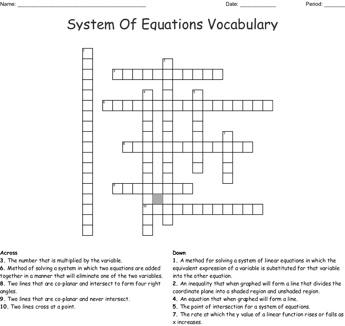 Systems Of Equations Vocabulary Crossword