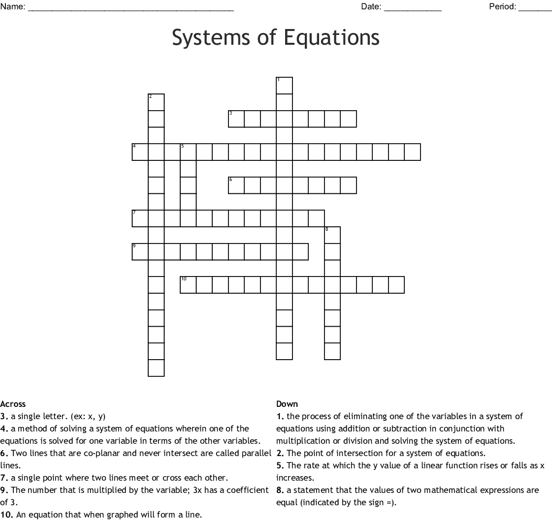 System Of Equations Vocabulary Crossword