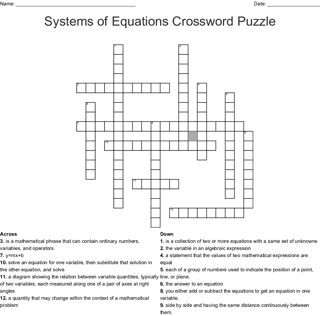 Linear Equation In Two Variables Crossword