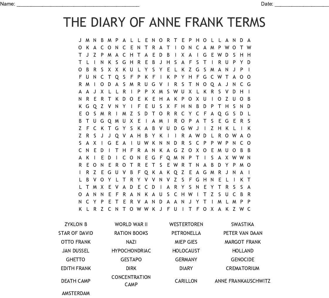 Anne Frank The Girl Who Lived Forever Word Search