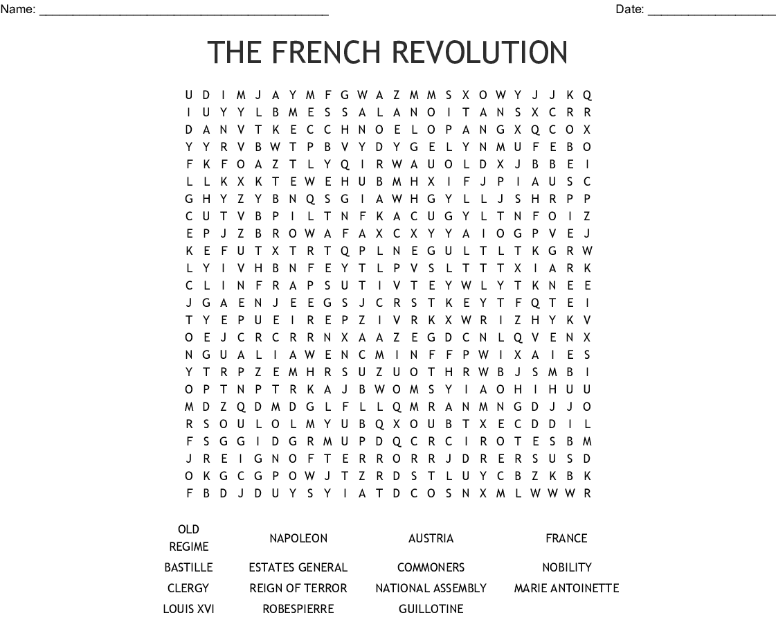 French Revolution Worksheet Answers