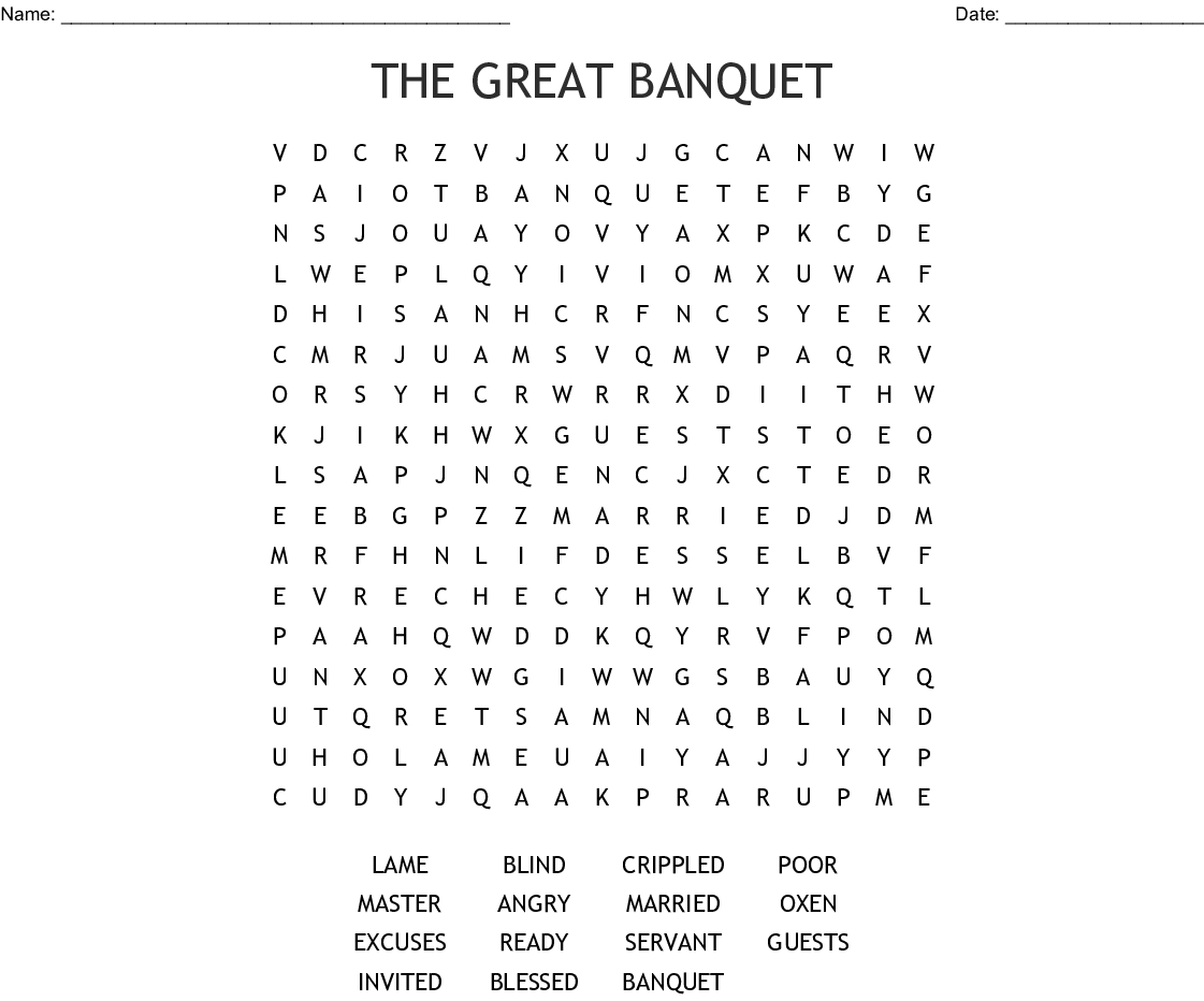 The Great Banquet Word Search