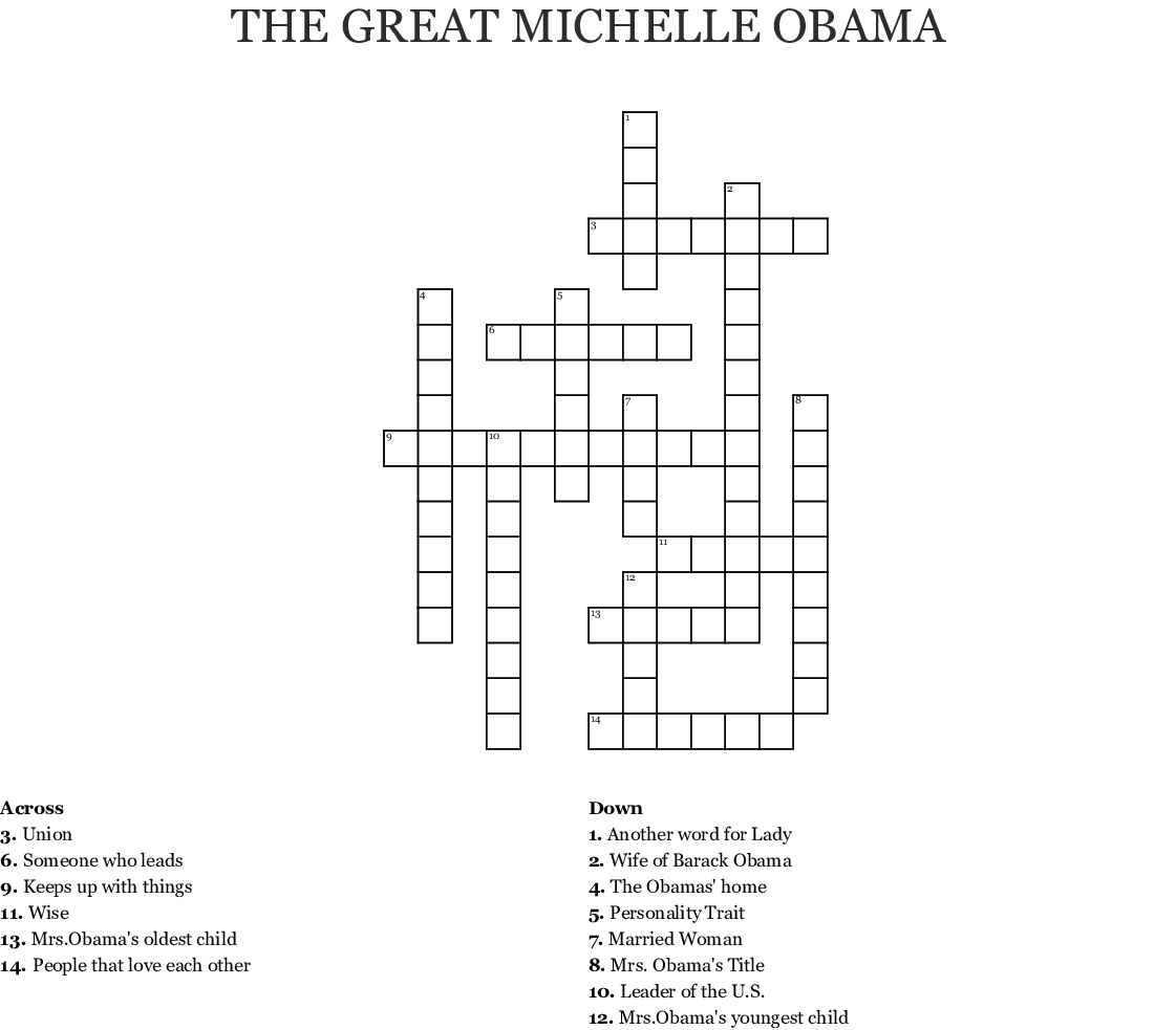 Michelle Obama Word Search