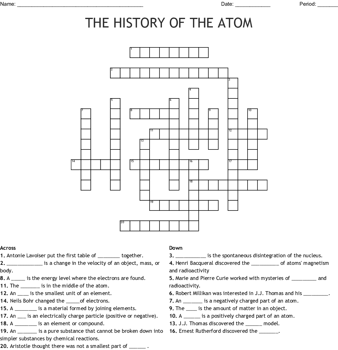 History Of The Atom Worksheet