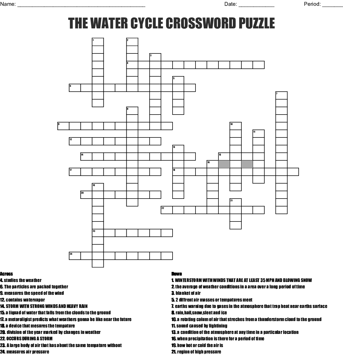hight resolution of the water cycle crossword puzzle created mar 28 2016