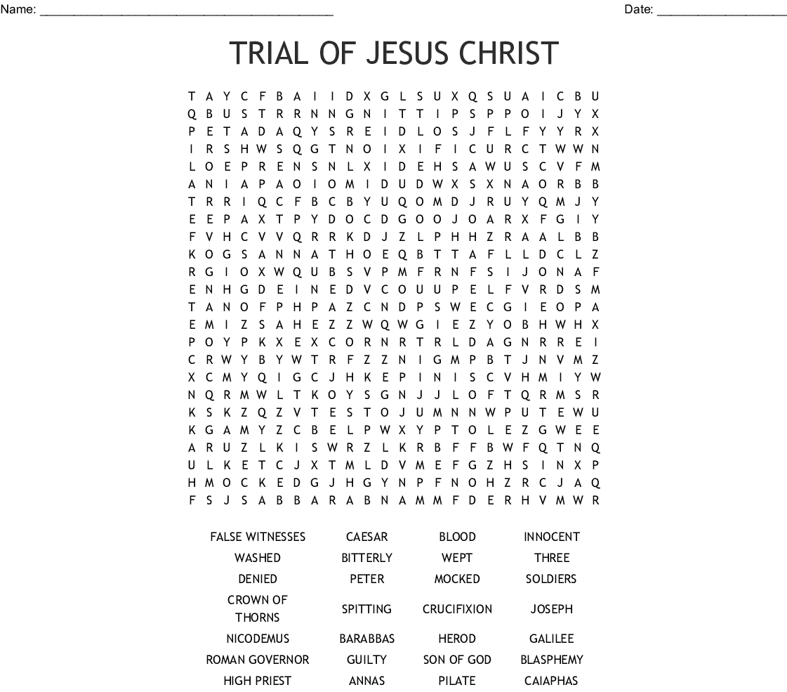 Trial Of Jesus Christ Word Search