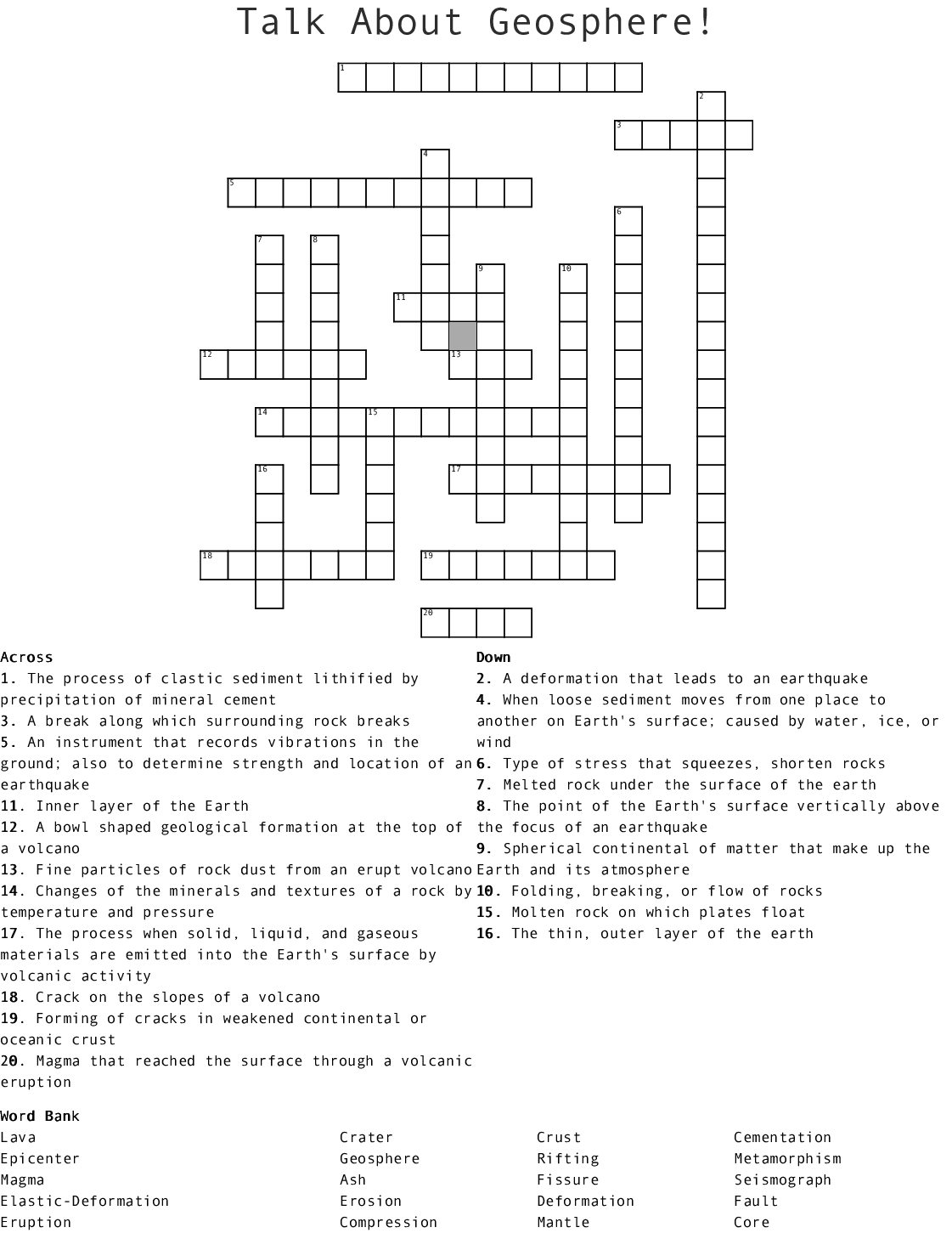 hight resolution of talk about geosphere crossword