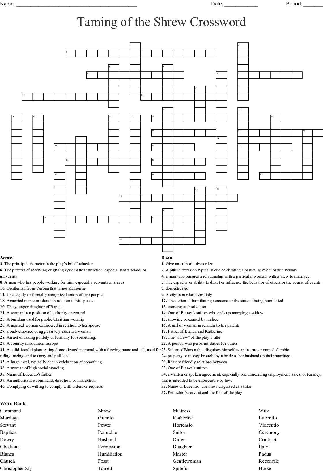 The Taming Of The Shrew Word Search