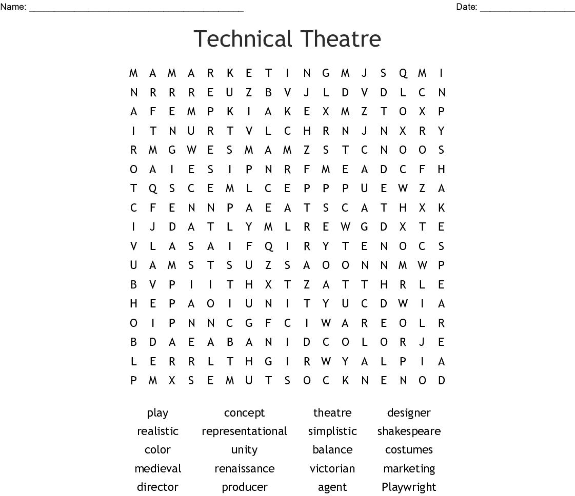 Acting Amp Theater Crosswords Word Searches Bingo Cards