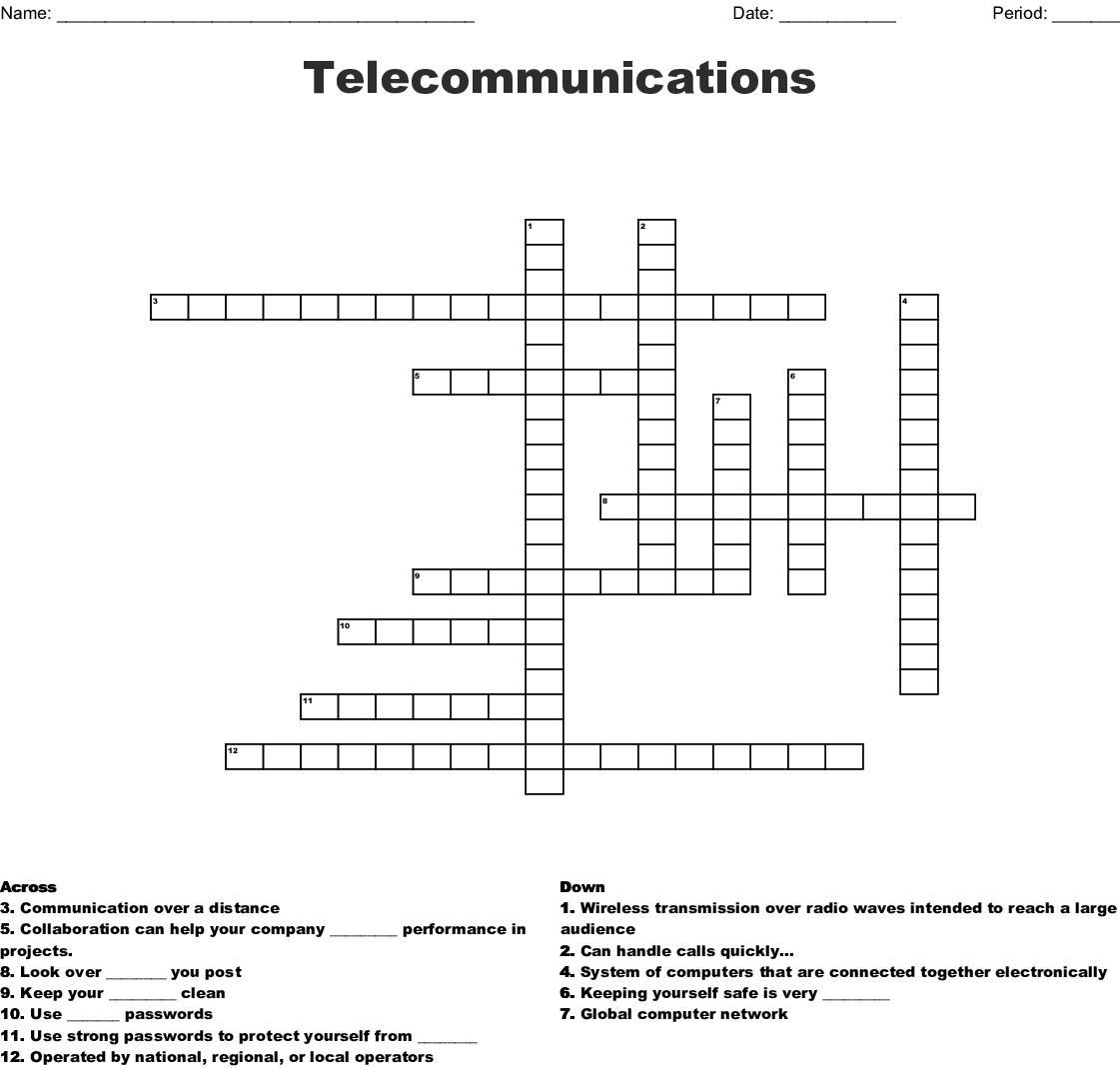 Internet Amp Telecom Crosswords Word Searches Bingo Cards