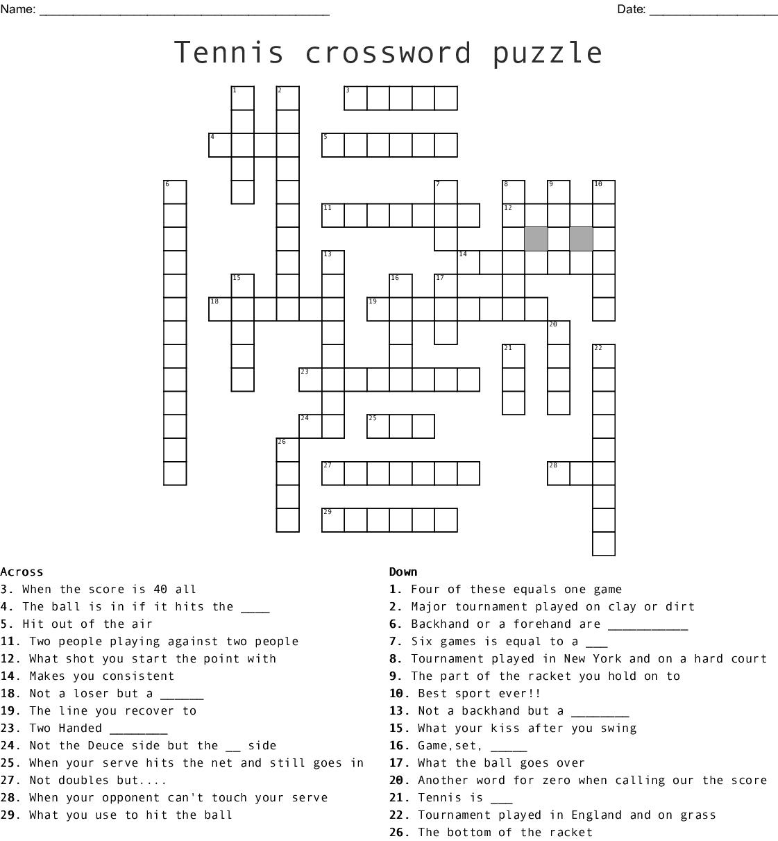 Badminton Crossword Answer Key