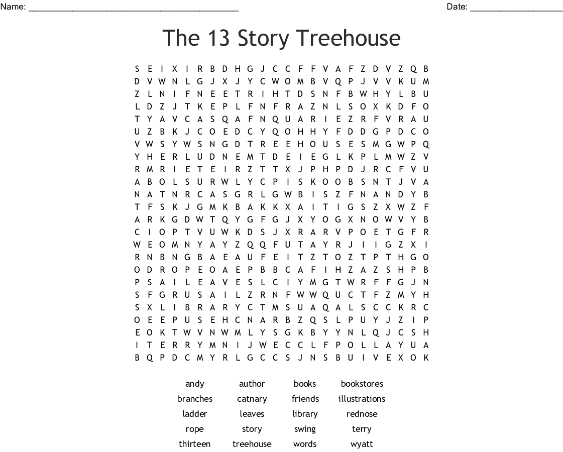 The 13 Story Tree House Word Search