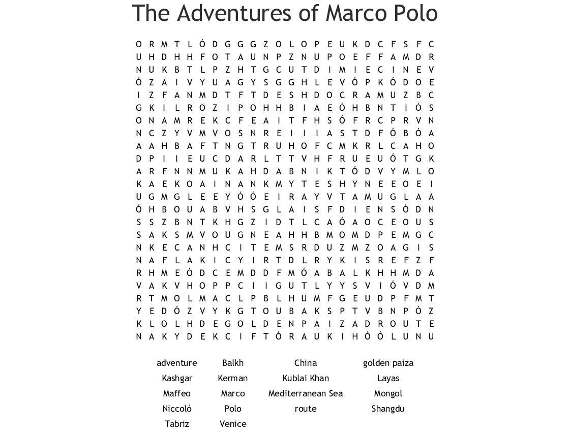 Marco Polo Word Search