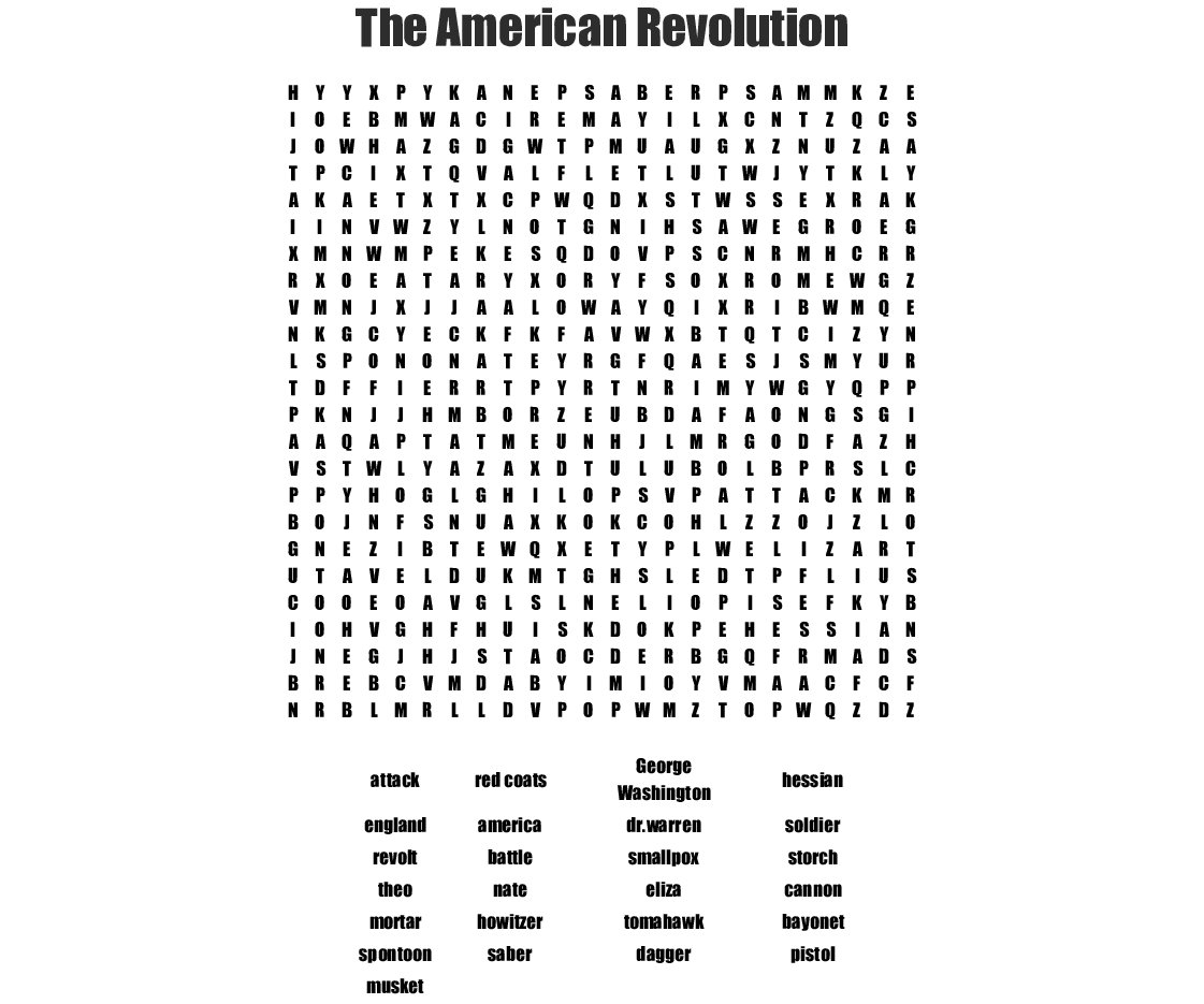The American Revolution Word Search