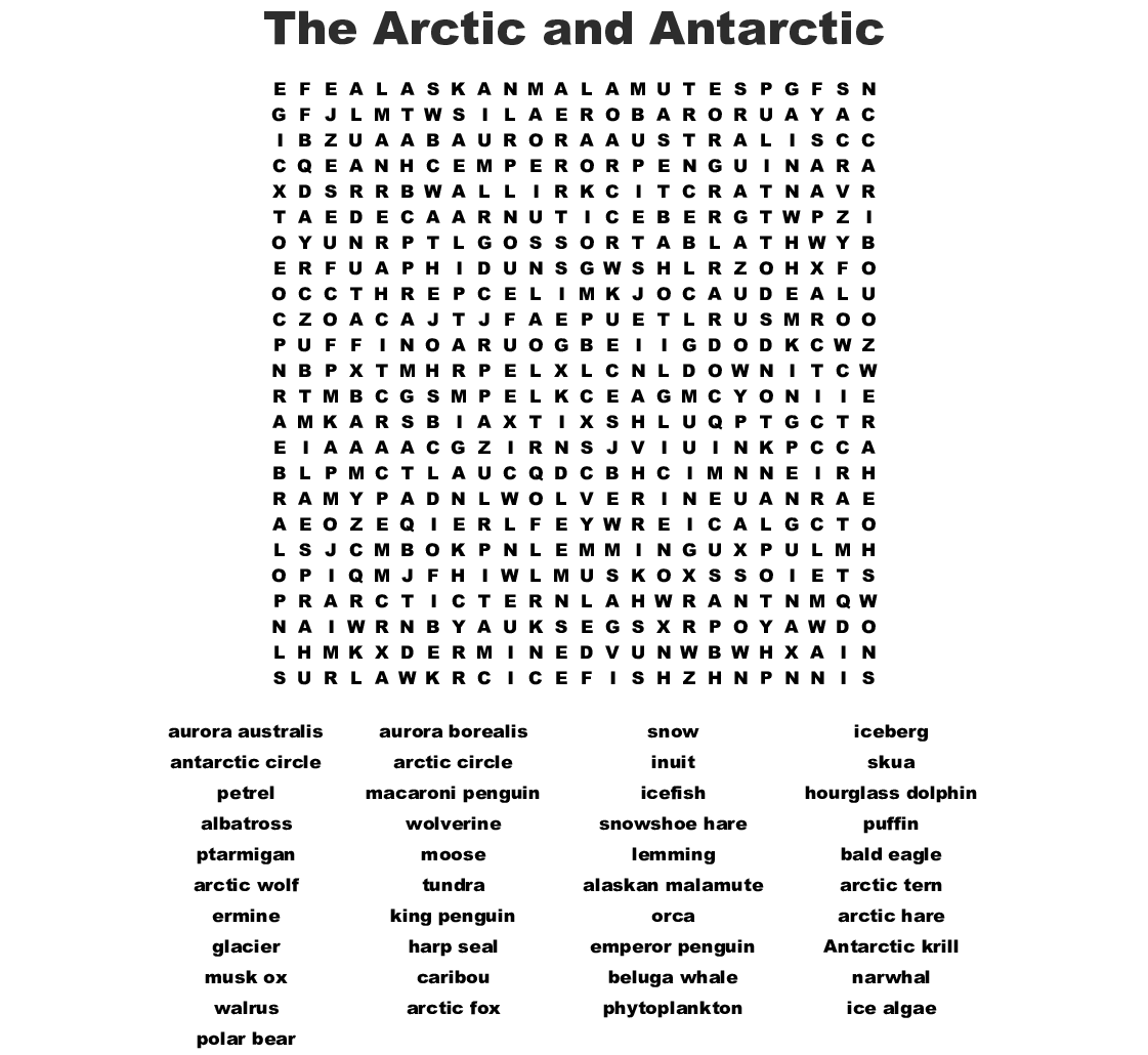 Arctic Amp Antarctic Wordsearch