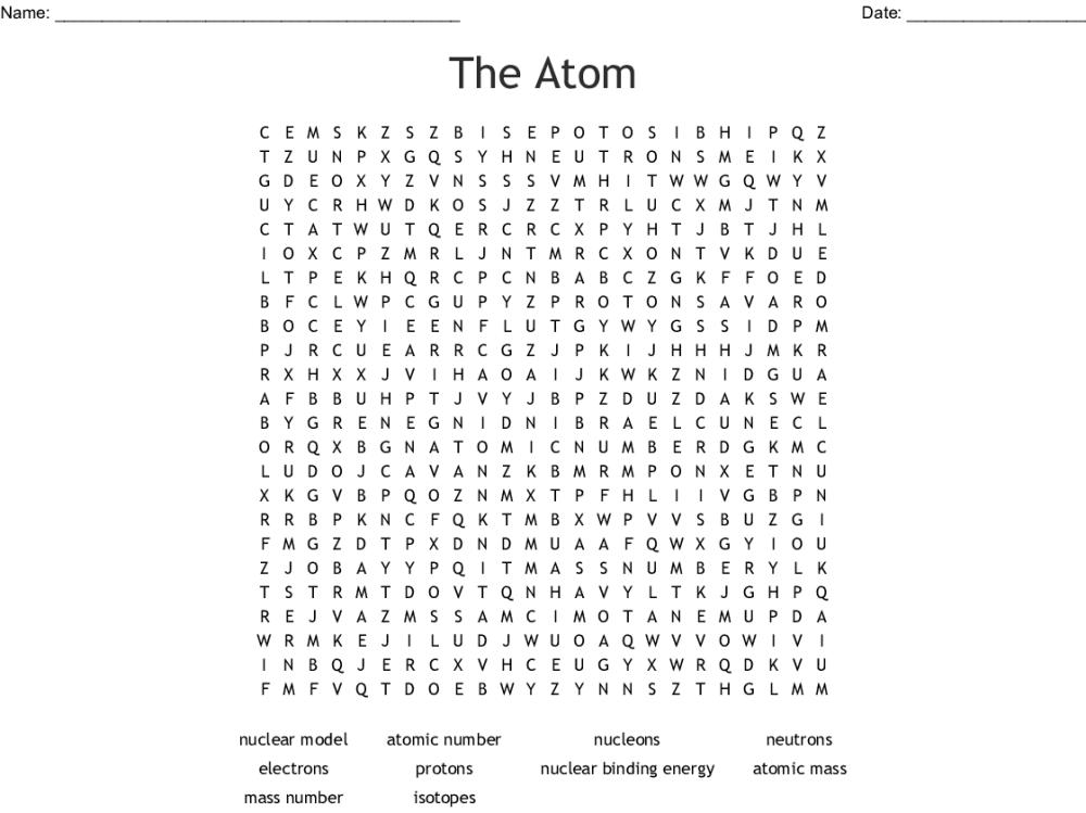 medium resolution of the atom word search