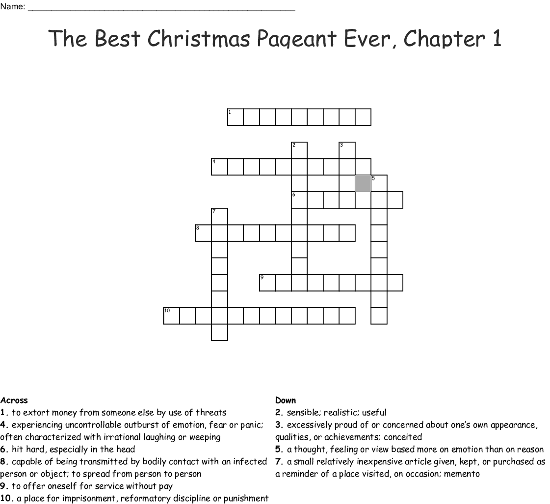 The Best Christmas Pageant Ever Chapter 1 Crossword