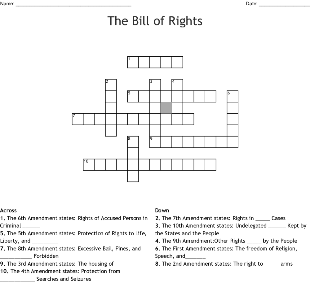 medium resolution of Bill Of Rights All 10 Amendments Worksheet   Printable Worksheets and  Activities for Teachers