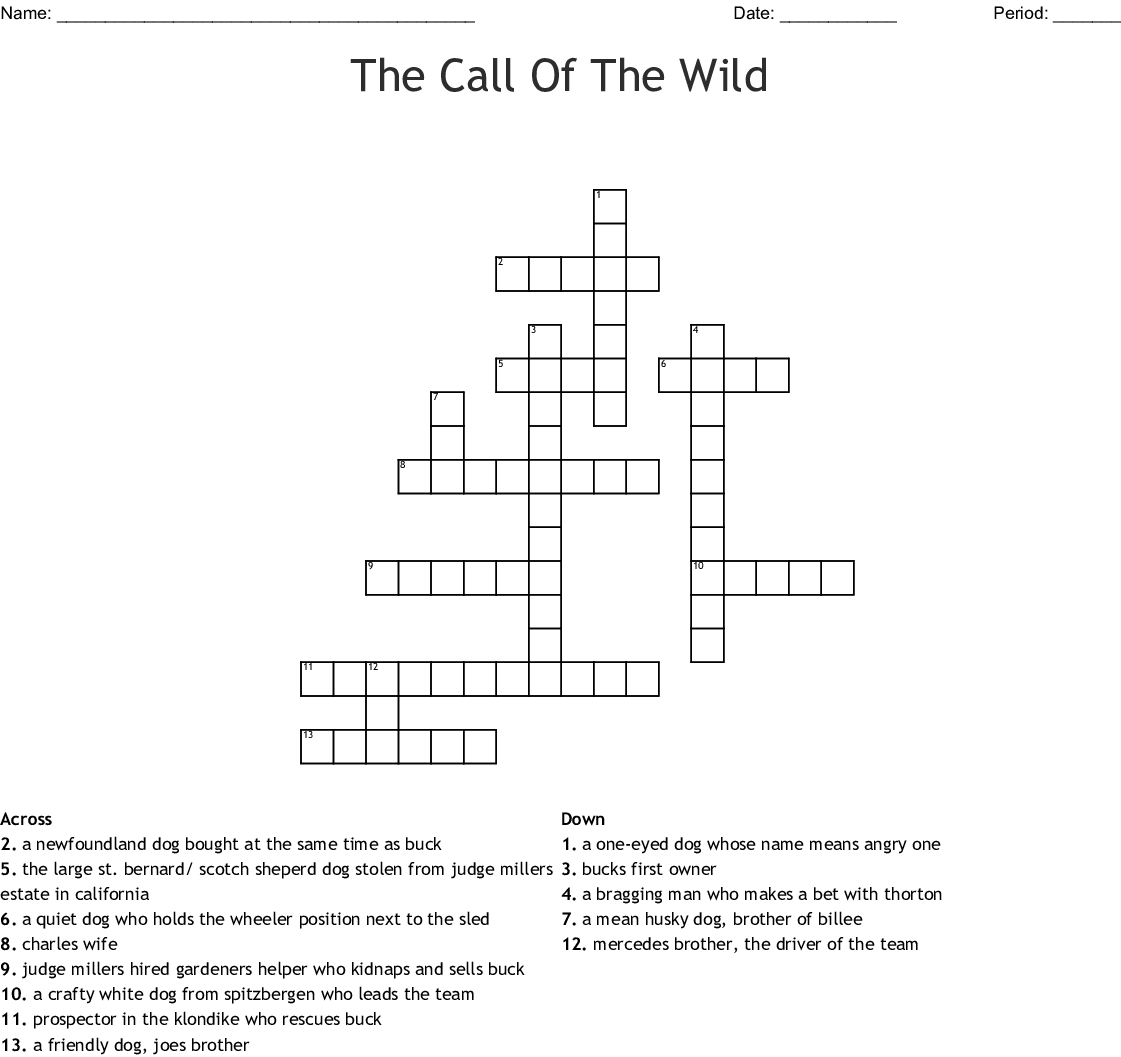 Call Of The Wild Word Search